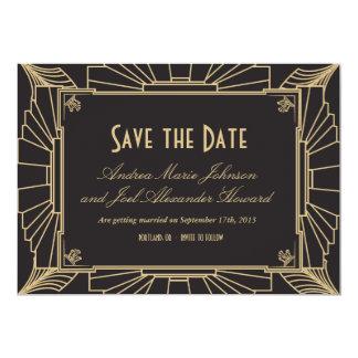 Reserva del art déco la fecha por las impresiones invitación personalizada