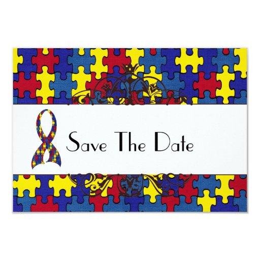 """Reserva del autismo la fecha invitación 3.5"""" x 5"""""""