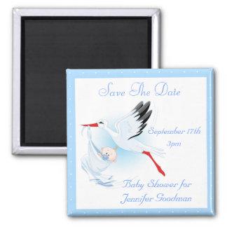 Reserva del azul de la cigüeña y del bebé la fiest iman para frigorífico