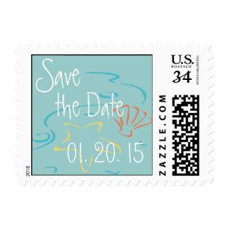 Reserva del azul de la postal el boda de playa de sello