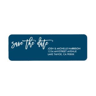 Reserva del azul la etiqueta del remite de la etiqueta de remitente