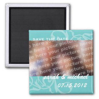Reserva del azul la foto de la invitación del boda imán de frigorifico