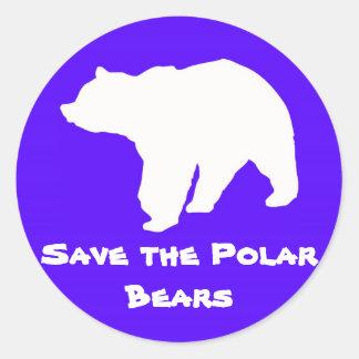 Reserva del azul los pegatinas de los osos polares pegatina redonda