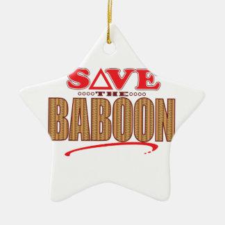 Reserva del babuino adorno navideño de cerámica en forma de estrella