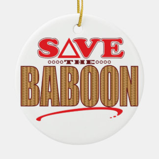 Reserva del babuino adorno navideño redondo de cerámica