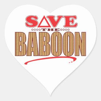 Reserva del babuino pegatina en forma de corazón
