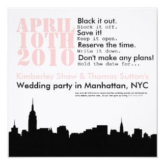 reserva del banquete de boda del paisaje urbano la invitación 13,3 cm x 13,3cm