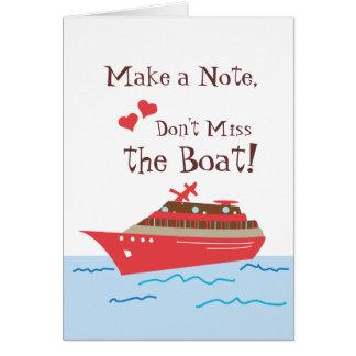 Reserva del barco de cruceros la tarjeta de fecha