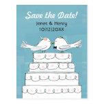 Reserva del beso del pastel de bodas de los pájaro tarjetas postales