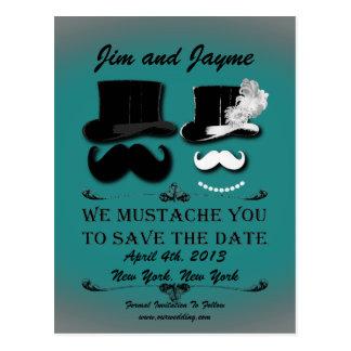Reserva del bigote del vintage la fecha postales
