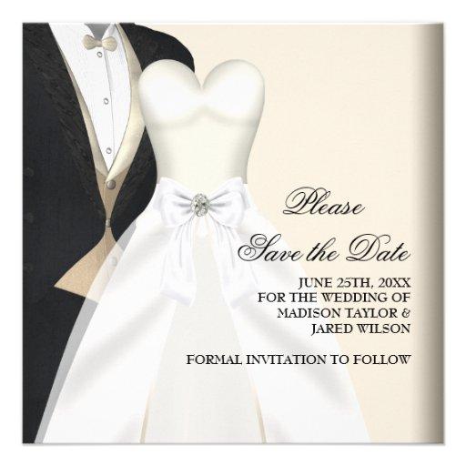 Reserva del blanco del negro del vestido de boda d anuncio