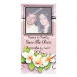 Reserva del blanco del rosa de la hiedra del plume tarjetas personales con fotos