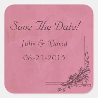 Reserva del boda de Borgoña del vintage la fecha Pegatina Cuadrada