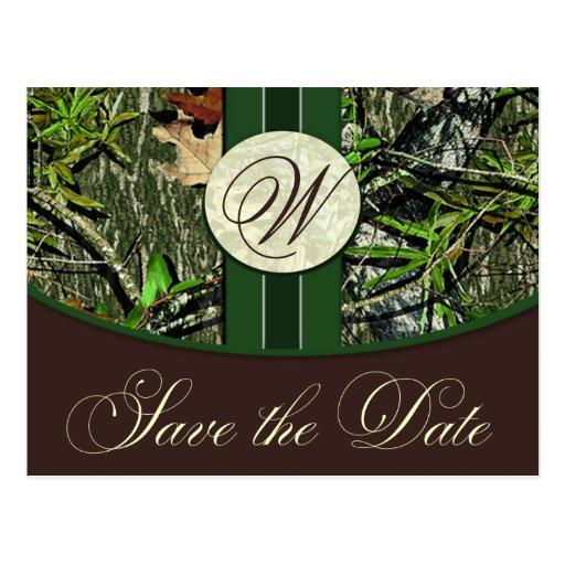 Reserva del boda de Camo del monograma del verde Postales