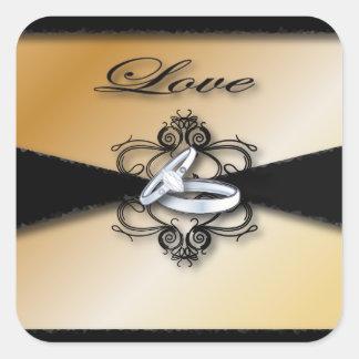 Reserva del boda de Champán la fecha y el favor Pegatina Cuadrada