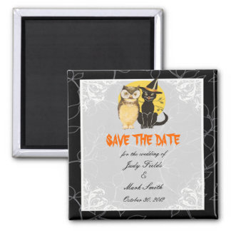 Reserva del boda de Halloween del gato y del búho Imán Cuadrado