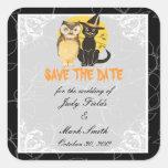Reserva del boda de Halloween del gato y del búho Pegatina Cuadrada