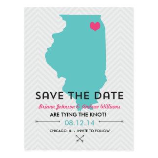 Reserva del boda de Illinois la postal de la fecha