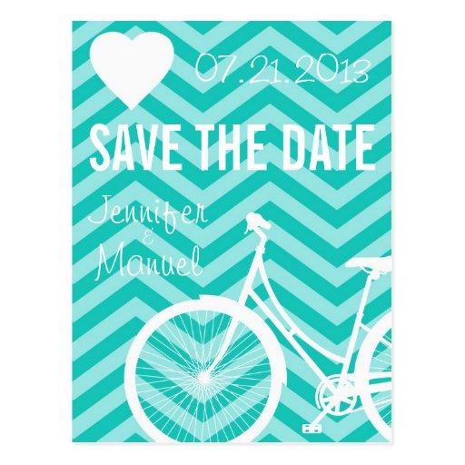 Reserva del boda de la bicicleta de Chevron la pos Postal