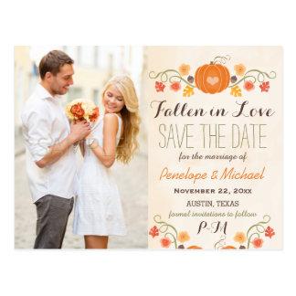 Reserva del boda de la caída de la calabaza del tarjetas postales