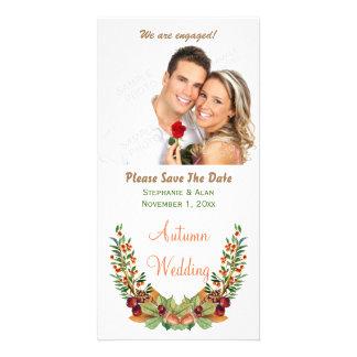 Reserva del boda de la caída del laurel del otoño tarjeta con foto personalizada
