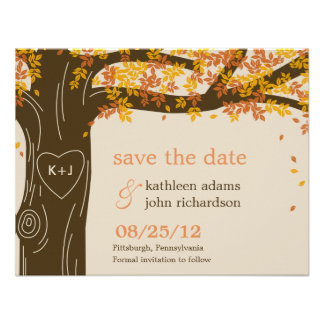 Reserva del boda de la caída del roble la tarjeta  anuncio