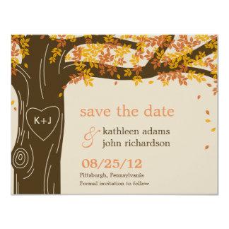 Reserva del boda de la caída del roble la tarjeta invitación 10,8 x 13,9 cm
