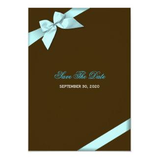 Reserva del boda de la cinta de la aguamarina la invitaciones personales
