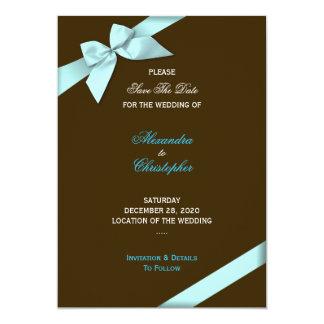 Reserva del boda de la cinta de la aguamarina la invitaciones personalizada