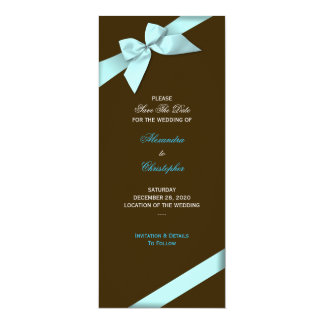 """Reserva del boda de la cinta de la aguamarina la invitación 4"""" x 9.25"""""""