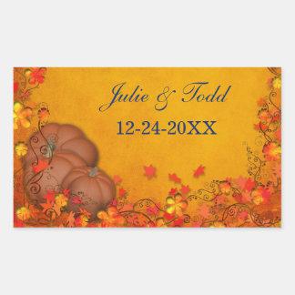 Reserva del boda de la dicha del otoño la fecha pegatina rectangular