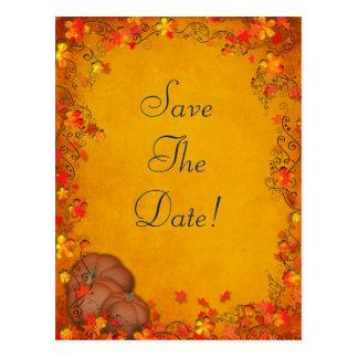 Reserva del boda de la dicha del otoño la fecha postal