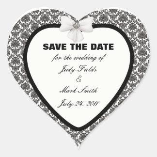 Reserva del boda de la elegancia del damasco los pegatina en forma de corazón