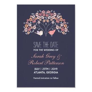 """Reserva del boda de la flor de los pájaros del invitación 3.5"""" x 5"""""""