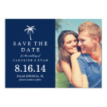 Reserva del boda de la foto de la palmera la fecha invitacion personalizada