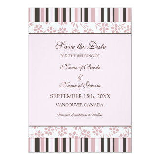 Reserva del boda de la foto de las rayas del rosa invitación 12,7 x 17,8 cm
