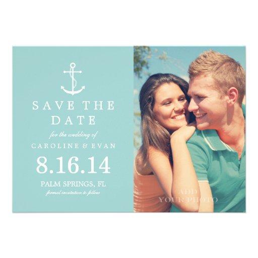 Reserva del boda de la foto del ancla la fecha {me invitaciones personales