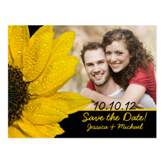 Reserva del boda de la foto del girasol la postal