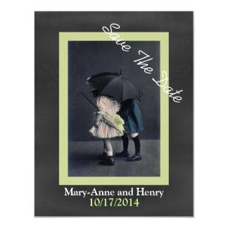 Reserva del boda de la foto del vintage la invitación 10,8 x 13,9 cm
