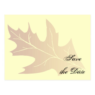Reserva del boda de la hoja del roble del otoño la tarjeta postal