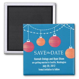 Reserva del boda de la linterna de papel la fecha imán cuadrado