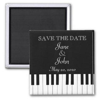 Reserva del boda de la música del teclado de piano imán cuadrado