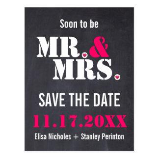 Reserva del boda de la tipografía de Sr. y de Postal