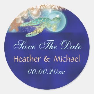 Reserva del boda de la tortuga de las estrellas de pegatinas redondas