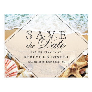 Reserva del boda de las estrellas de mar de la tarjeta postal