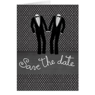 Reserva del boda de los hombres gay las tarjetas d