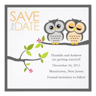 Reserva del boda de los pares del búho la fecha invitación 13,3 cm x 13,3cm