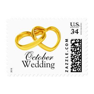 Reserva del boda de octubre de la postal la postal sello