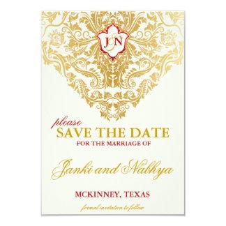 """Reserva del boda de oro de los Flourishes de la Invitación 3.5"""" X 5"""""""