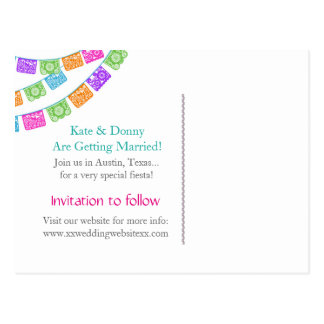 Reserva del boda de Papel Picado la postal de la